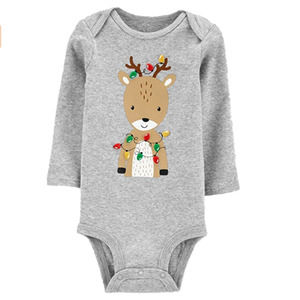 Carter's Gray Reindeer Christmas Bodysuit Baby NEW